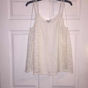 Charlotte Russe off white lace cold shoulder top M